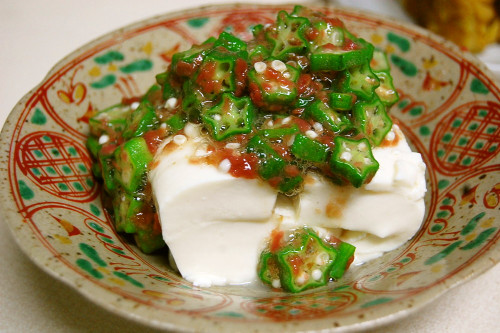 Chilled Tofu with Okra and Umeboshi Pickled Plums