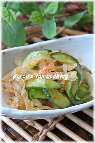 Chinese-Style Jellyfish-Like Frozen Konyaku and Cucumber Salad