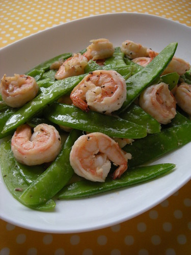 Shrimp and Snow Peas Sautéed in Anchovy-Mayo