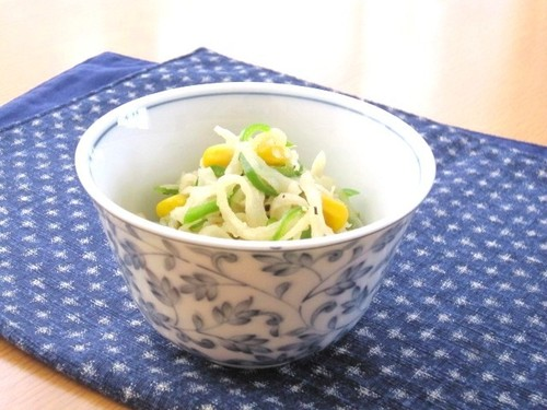 Stir-Fried and Simmered Kiriboshi Daikon and Corn