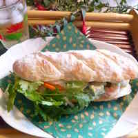 Vietnamese Banh Mi Sandwich with Prawn and Avocado