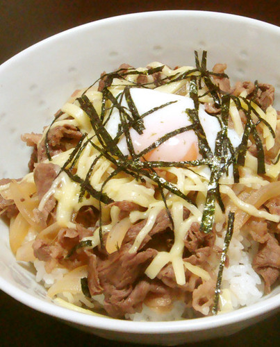 Beef Rice Bowl with Cheese & Poached Egg