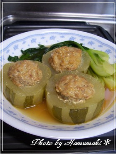 Simmered Green or White Winter Melons, Cabbage Roll-style