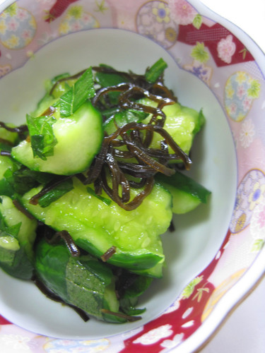 Instant Bashed Cucumber Pickles with Shio-Konbu and Shiso leaves