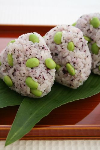 Colorful Rice Balls with Edamame and Red Shiso