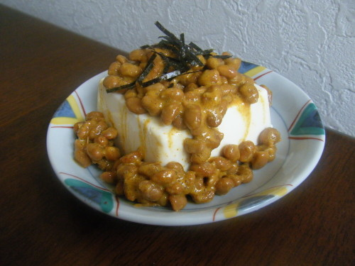 Curry Natto Cold Tofu or Boiled Tofu for Diet