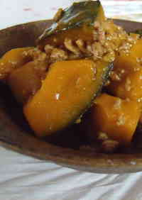 Stir Fried and Simmered Ground Meat and Kabocha Squash