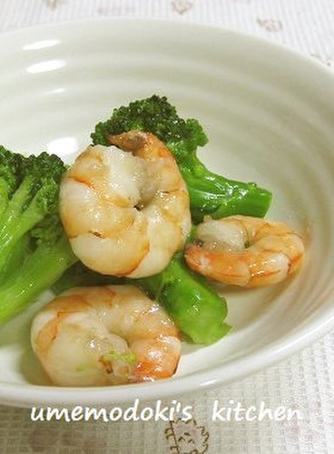Lightly-seasoned Shrimp and Broccoli for Bentos