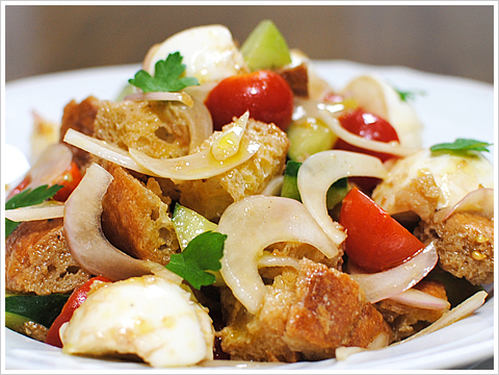 This is a delicious panzanella made with 2 day old stale bread.
