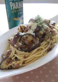 Eggplant and Ground Meat Butter-Ponzu Flavored Pasta