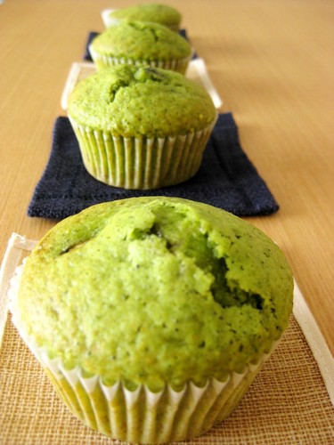 Matcha and Sweetened Black Bean Muffins