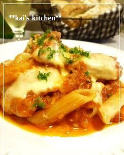 Chicken Simmered in Tomato Sauce with Cheese and Penne