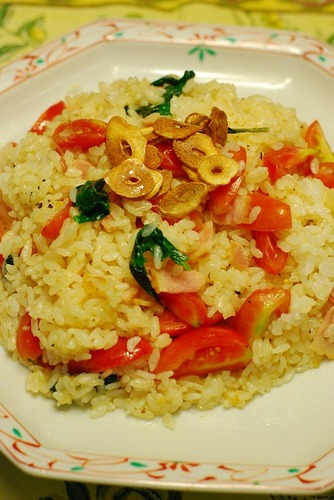 Basil and Tomato Garlic Rice