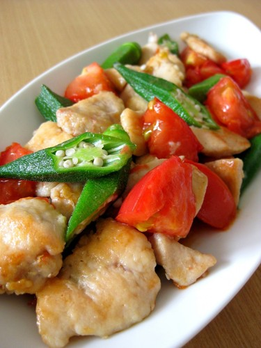 Chicken Breast, Tomato and Okra Stir Fry With Fish Sauce