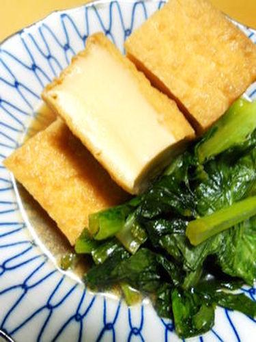 Simply Simmered Komatsuna and Atsuage