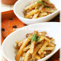Stir-fried Potatoes and Chikuwa Fish Sticks with Sesame Seeds, Mayonnaise and Lemon