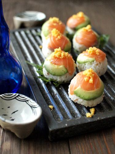 Sushi Balls with Avocado and Salmon