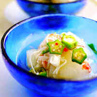 Simmered Winter Melon, Imitation Crab and Okra