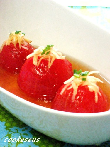 Refreshing Chilled Tomato in Dashi Stock