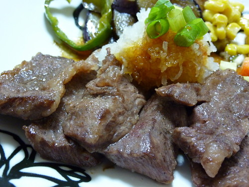 Grated Garlic and Soy Sauce over Beef Steak