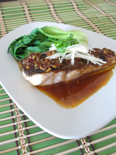 Hong Kong Style Steamed White Fish with Douchijiang, Spicy Black Bean Sauce