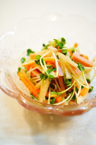 Colorful Daikon Radish and Carrot Salad with Sesame