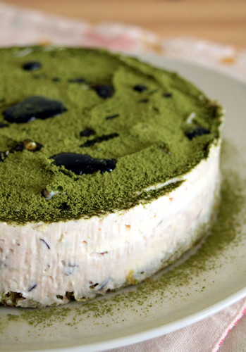 Uji-Kintoki Inspired No-Bake Cheese Cake with Condensed Milk and Adzuki