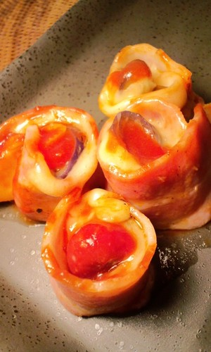 Bacon Wrapped Egg Plant and Cheese