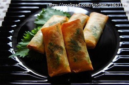Spring Rolls Filled With Chicken Tenders and Cheese, Accented with Shiso