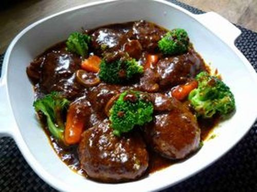 Delicious Hamburgers Simmered In Demi-glace Sauce