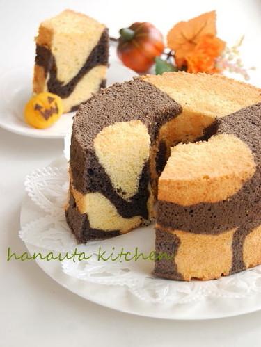 For Halloween ♪ A Kabocha Squash & Cocoa Chiffon Cake