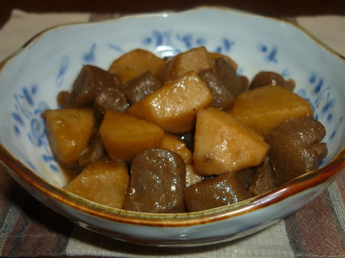 Easy Stir-Fried Satoimo (Taro) and Konnyaku
