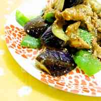 Pork, Eggplant and Bell Pepper with Sesame Miso Sauce