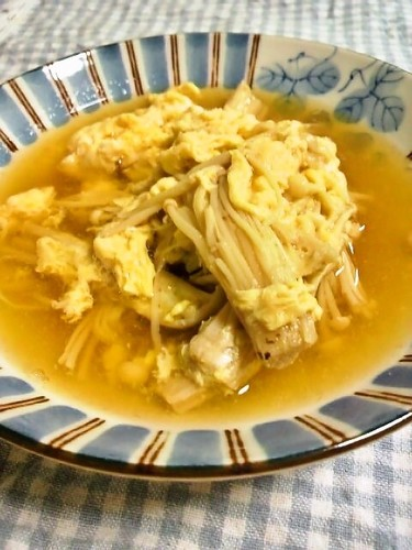 Egg Soup with Enoki Mushrooms