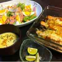 Easy Baked Autumn Salmon and Mushrooms with Mayonnaise
