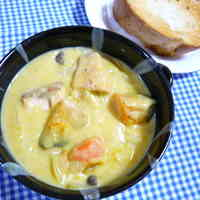 Healthy Cream Stew with Salmon and Kabocha Squash
