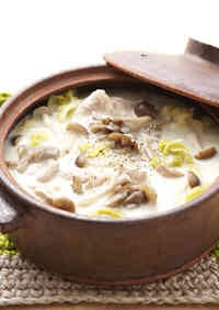 Soy Milk Hot Pot with lots of Mushrooms