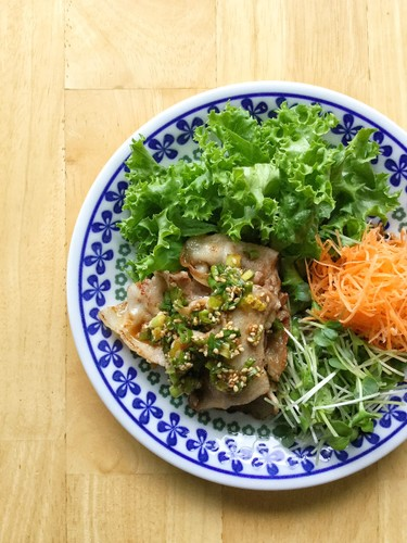 Pork Belly with Sweet and Sour Onion Sesame Sauce