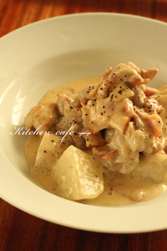 Satoimo (Taro Root) and Chicken in Cream Sauce