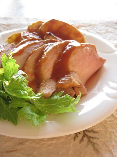 Roast Pork and Apple with Mustard and Ketchup