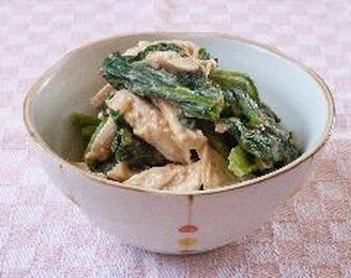 Komatsuna and Boiled Chicken Mixed with Sweet Chili Sauce and Sesame