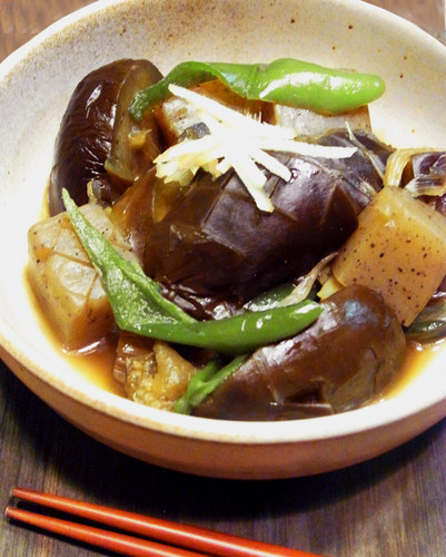 Simmered Eggplant and Konnyaku