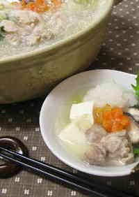 "Light Chicken ""Mizore"" (sleet) Hot Pot"