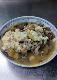 Delicious Simmered Meat and Tofu with Mentsuyu