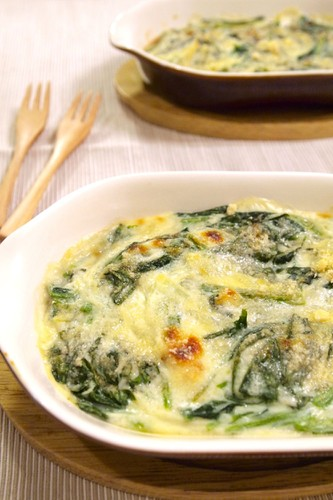 Spinach Au Gratin with Easy Bechamel Sauce