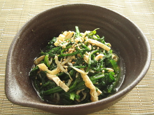 Parboiled Chrysanthemum Greens and Spinach