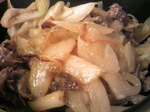 Sliced Beef and Onions in Butter-Soy Sauce