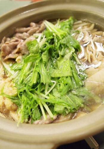 Mizuna Greens, Pork, and Daikon Radish Harihari Hot Pot