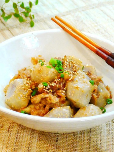 Satoimo (Taro Root) and Pork Stir-Fry with Oyster, Mayonnaise and Sesame Sauce