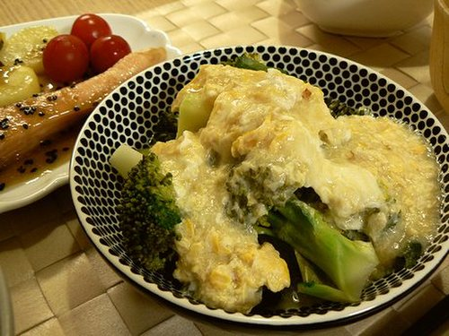 Broccoli with Fluffy Omelette and Ankake Sauce